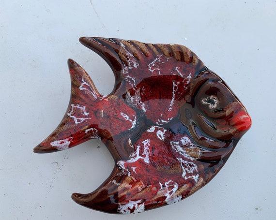 VALLAURIS style glazed ceramic fish, vintage 1960/70