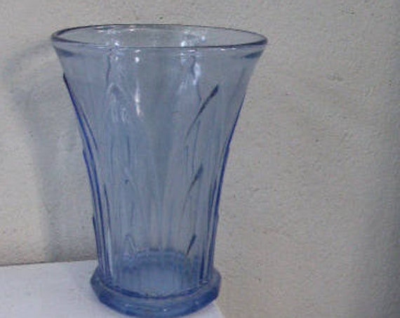 blue vase in very thick glass, relief foliage patterns, art deco