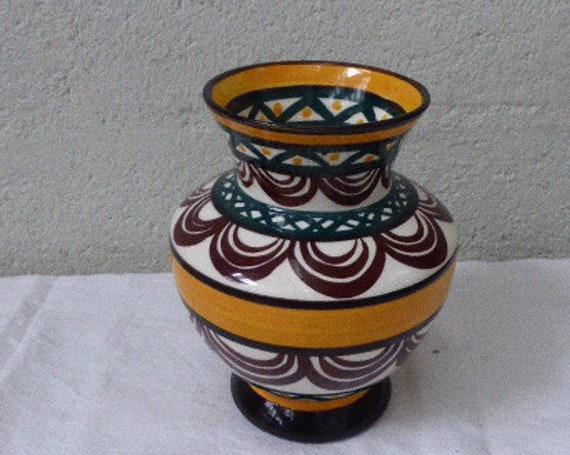 Enamelled ceramic vase of St Jean de Bretagne, geometric patterns hand painted vintage 1950/60