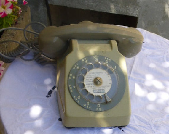 Telephone dial gray, two-tone, vintage 1974, complete, earphone and socket, Socotel S63, made in France
