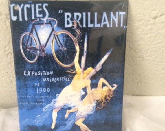Beautiful enameled advertising plate, Cycles Brillant, world exhibition, decorative object, midnight blue