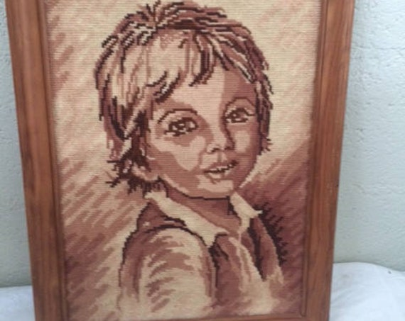 CANEVAS PORTRAIT CHILD, embroidered tapestry and framed in a beautiful old wooden frame, vintage 1960/70