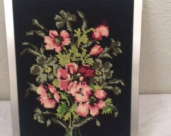 Canvas, hand embroidered, vintage tapestry, bouquet of anemones on black background