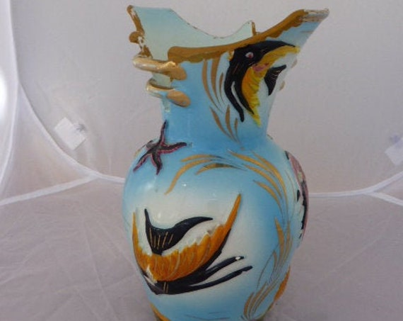 Ceramic vase with fish motif, CERDAZUR ceramics workshop in MONACO, collection piece numbered HB 25, signed and stamped 50
