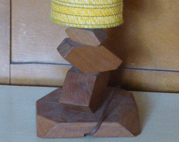 Original and design lamp, wooden base and original lampshade in yellow fabrics, vintage 1970.