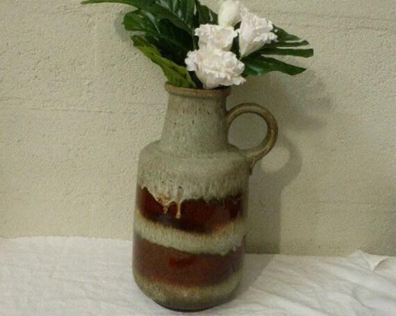 Beautiful jug, enamelled ceramic vase WEST GERMANY vintage 1970, numbered 408-40