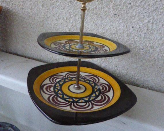 Glazed ceramic cake display from St Jean de Bretagne, famous geometric patterns, design and vintage 1950/60