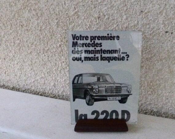 Frame, photo holder, ADVERTISING MERCEDES 220 D, automobilia a poser vintage 1950/1960, design,