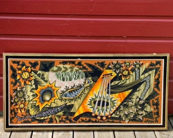 Large canvas Jean Lurcat style, finished, embroidered and vintage 1970 frame