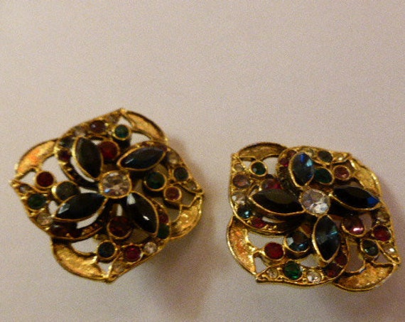 EARRINGS CLIPS vintage, elegant rhinestones, vintage