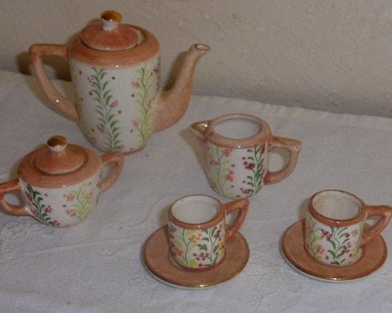 Porcelain hand-painted miniature dinette, vintage 7-piece coffee set