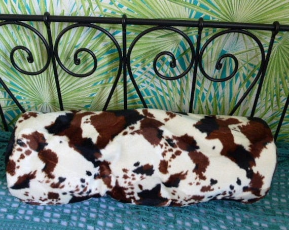 Pillow original creation, decoration and storage for your stuffed animals, souvenirs, bolster shape, synthetic fur fabrics cowhide