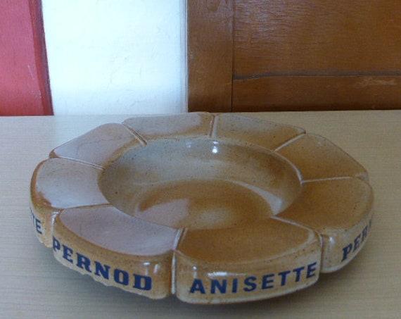 Large ashtray in Advertising Sandstone pernod anisette, Les Grès du Marais, vintage floral form 1970
