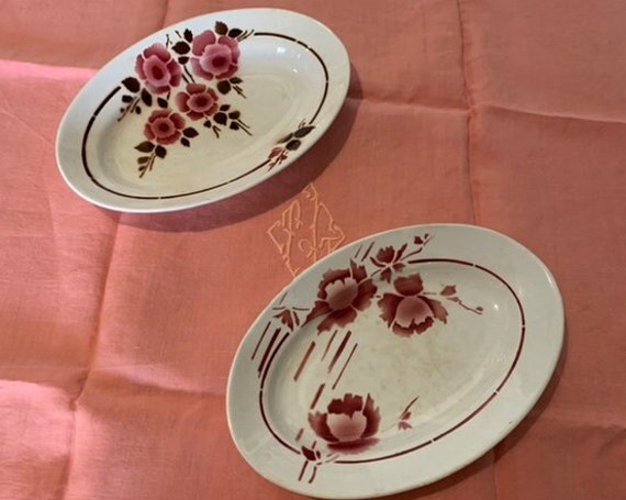 Two small ART DECO earthenware serving dishes, floral model, sarreguemines and st amand, made in france