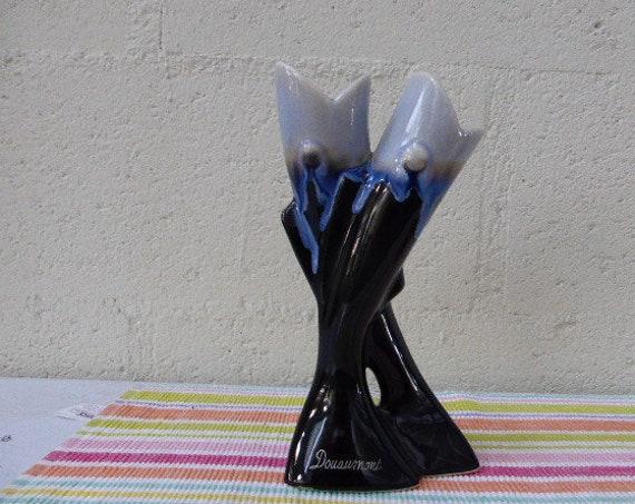 Design vase, soliflore two fish enameled ceramic, memory of douaumont, vintage 1960