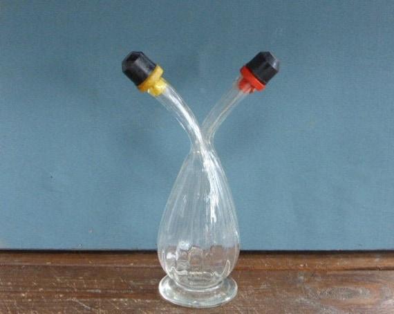 FLASK, pitcher for oil and vinegar, glass, vintage 1950/1960, design, kitchen ustensil