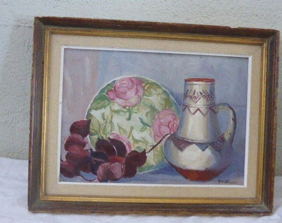 Superb painting, canvas painting, still life signed Gen Parrotte framed in an old wood frame