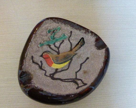 Bird ashtray in glazed ceramic, design and vintage 1950/60, stamped: creation GF France