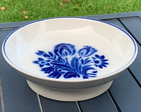 Charming bowl in white earthenware and blue floral pattern, BADONVILLER France, numbered, art deco and collector