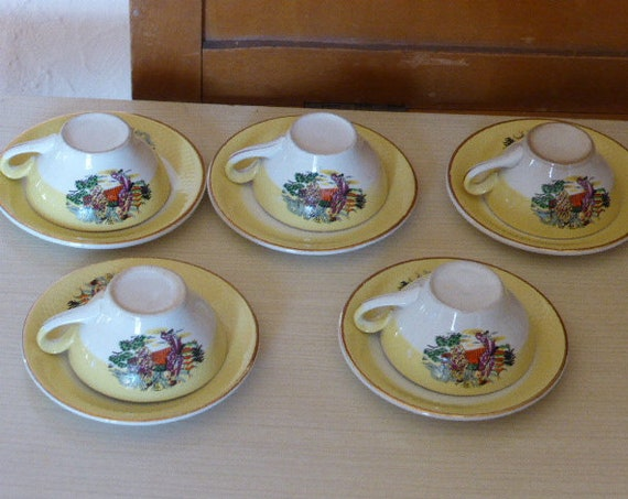 Coffee service in white and yellow porcelain, vintage Asian decor