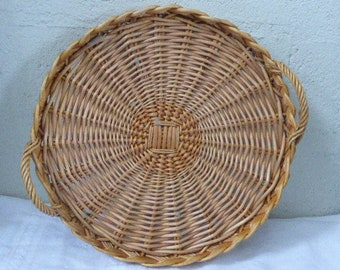 Round tray with braided wicker handles, natural vintage 1970
