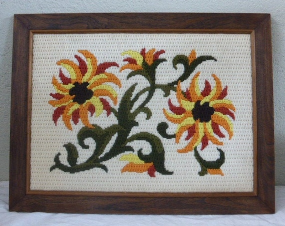 Large tapestry framed textile table woven wool handmade, flowers, hand woven, vintage 1970
