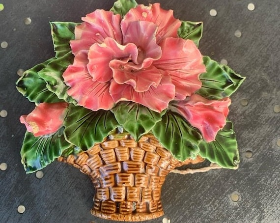 Wall decor, basket of flowers in biscuit and old slip, art deco and collector's