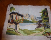 CANVAS CHALET in mountain tapestry has finish, vintage 1970 39 s.