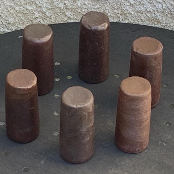 6 cylindrical-shaped liqueur glasses in sandstone vintage 1960/70