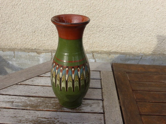 Vase original vintage 1970 folk. Beautiful green and brown patterns. Artisanal, hand made. Pottery VINTAGE