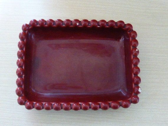 Small rectangular dish in enameled red vintage burgundy and design