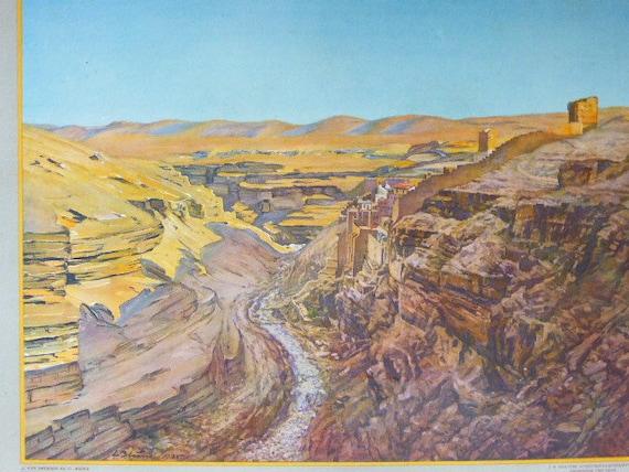 School and educational poster, circa 1930, View of the Jordanian desert
