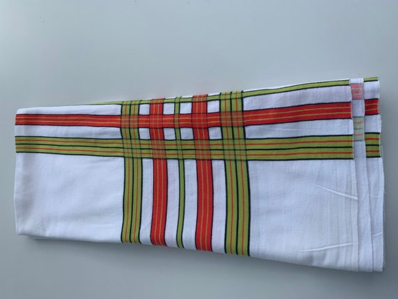 Large rectangular tablecloth, vintage with orange and green stripes on a white background, elegant and summery