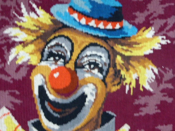 CANEVAS the embroidered clown finished and framed in an old vintage wooden frame 1970
