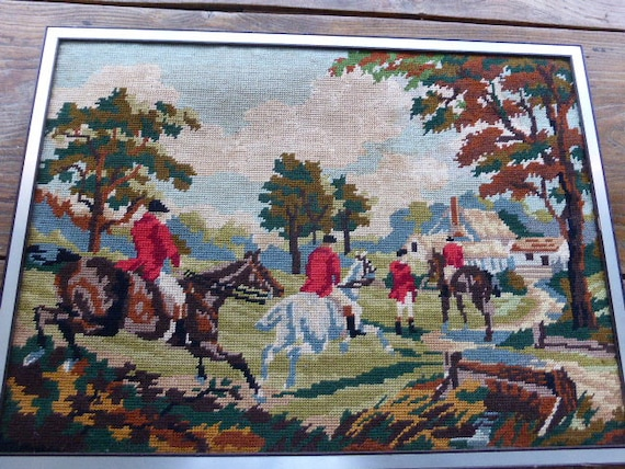 Canvas, hunting scene tapestry, riders, framed, vintage 1960.