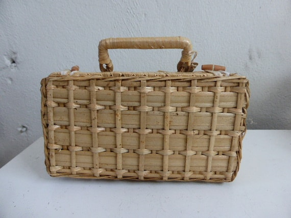 Rattan and woven bamboo case, vintage 1970