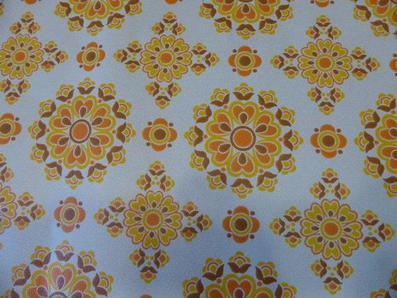 wallpaper, vintage 1970, motives rosaces, orange, original for 1 meter