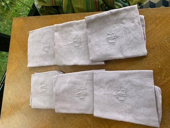 6 large OG monogrammed napkins, damask cotton, tinted parma pink vintage old art deco