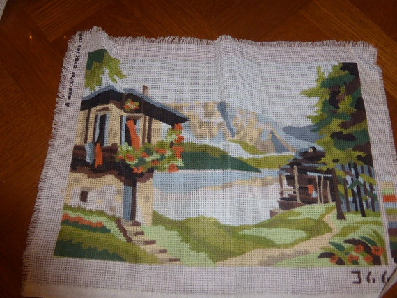 CANEVAS CHALET in MONTAGNE, tapestry to finish, vintage 1970,