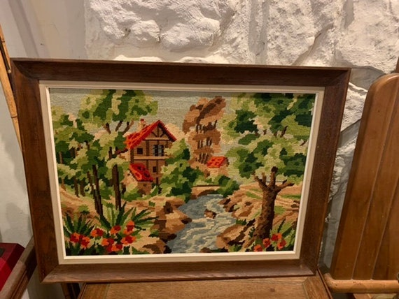 Canvas the mill, finished embroidered tapestry, vintage 1970, handmade