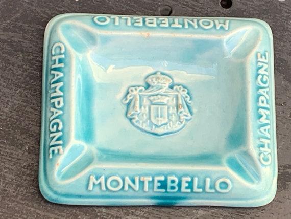 CHAMPAGNE MONTEBELLO advertising ashtrays, vintage turquoise enamel ceramic 1950