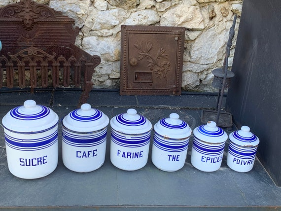 Complete SERIES of 6 white and blue enameled art deco spice JARS, very old, kitchen trend