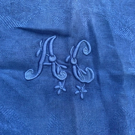 Magnificent old rectangular linen tablecloth monogrammed AC, tinted blue, art deco