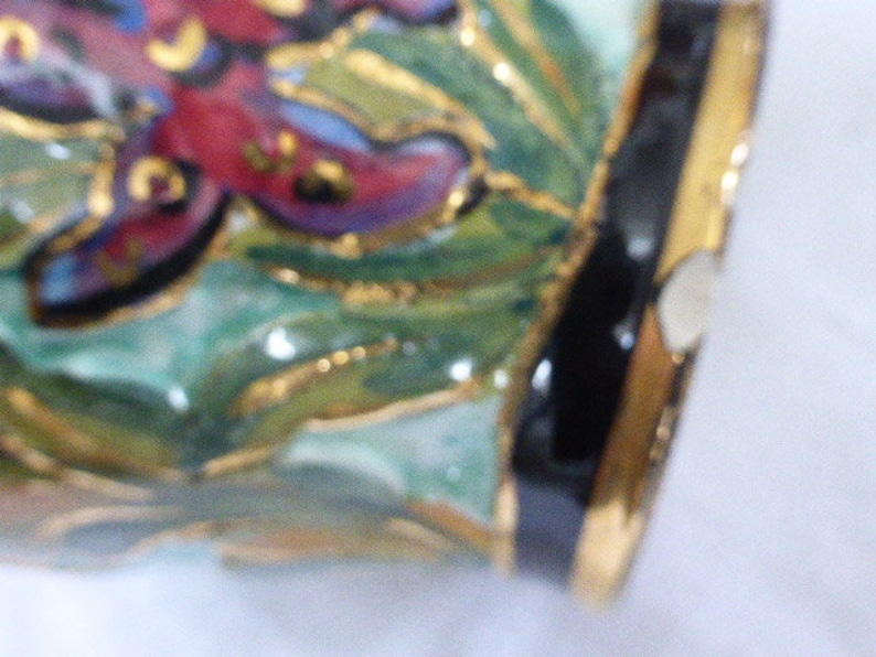 Charming enameled ceramic vase of Monaco fish and wave decoration in relief vintage 195060