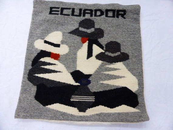 Cushion cover, grey women, woven in hand wool, handcrafted, origin ecuador, vintage