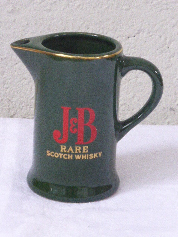 J & B whiskey jug, rare scotch, enamelled ceramic advertising carafe in green color, red, vintage and collector lettering