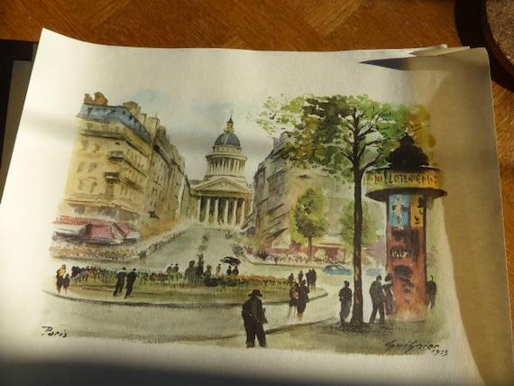 Lot of 4 engravings of Guignier, monuments of Paris vintage 1953