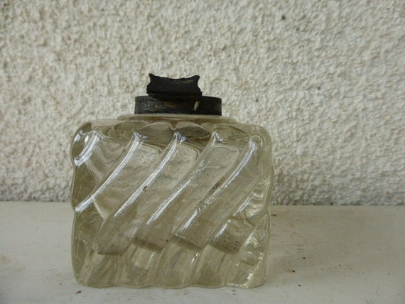 Inkwell old twisted glass thick glass without lid ART DECO