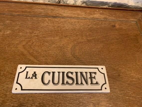 Charming enamelled ceramic door plate, LA CUISINE, for your doors
