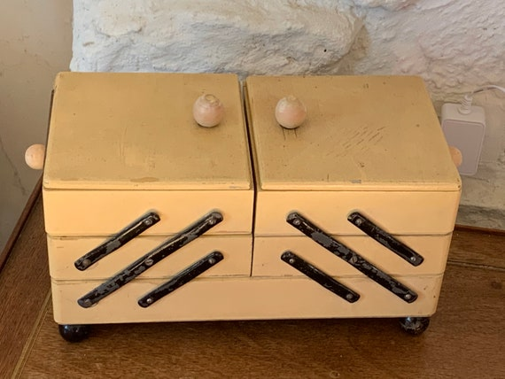 Wooden sewing box painted in beige and black, wooden handles and ball feet, lots of charm, 5 vintage compartments